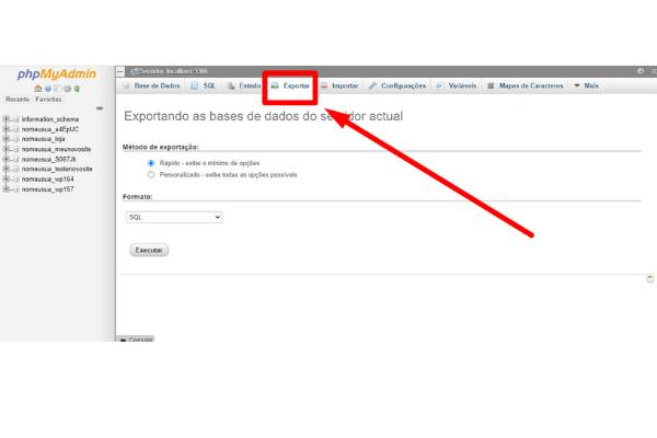 apos carregar as tabelas no phpmyadmin clique em exportar