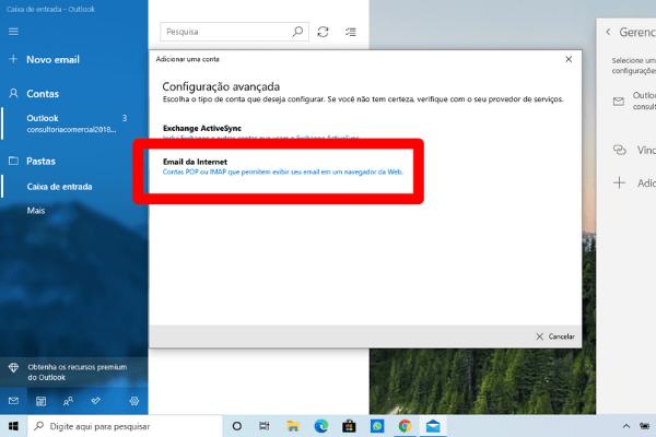 selecione email da internet windows mail
