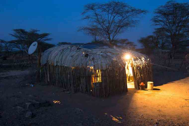 renewable energy on the roof of a hut