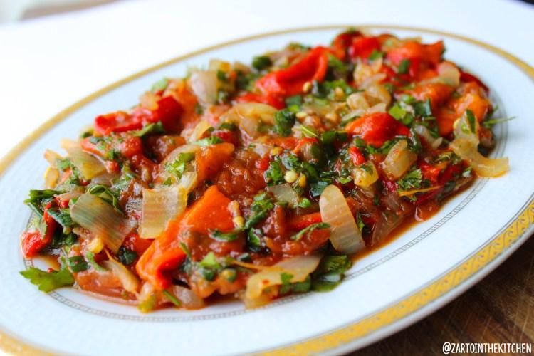 Gegrilde paprika salade
