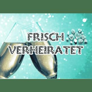 Ballonkarte Frisch verheiratet Champagnerglas