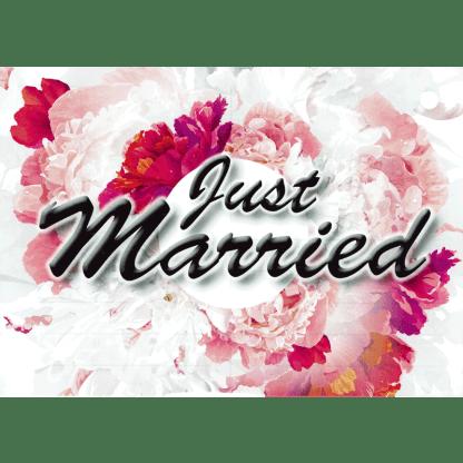 Ballonkarte Just Married Blumen