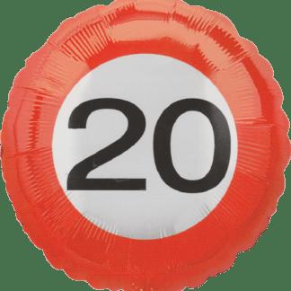 Folienballon Geburtstag Zahl 20 Verkehrszeichen