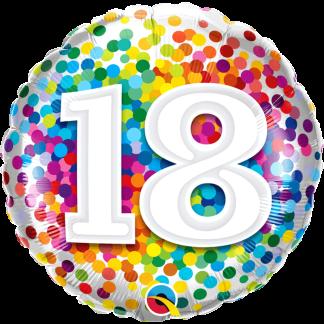 Folienballon Geburtstag Zahl 18 Konfetti bunt