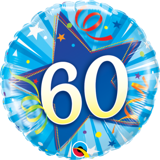 Folienballon Geburtstag Zahl 60 strahlende Sterne blau