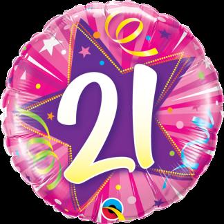 Folienballon Geburtstag Zahl 21 strahlende Sterne pink