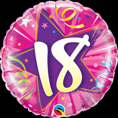Folienballon Geburtstag Zahl 18 strahlende Sterne pink