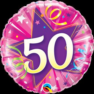 Folienballon Geburtstag Zahl 50 strahlende Sterne pink