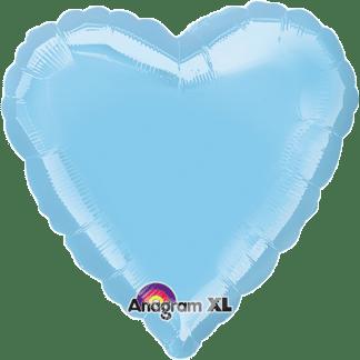 Folienballon Herz Metallic Hellblau