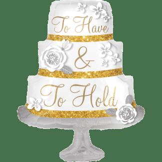 Folienballon Hochzeitstorte edel in Gold