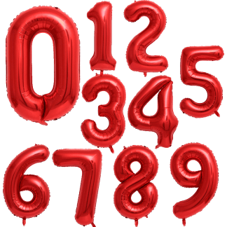 Folienballon Zahl 3 Rot Geburtstag