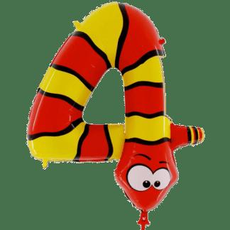 Folienballon Kinder Zahl 4 Schlange Geburtstag