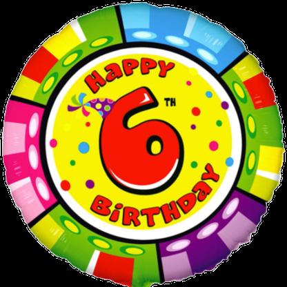 Folienballon Geburtstag Zahl 6 bunt