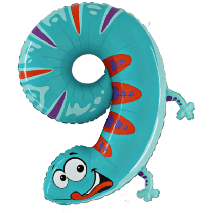 Folienballon Geburtstag Zahl 9 Geko