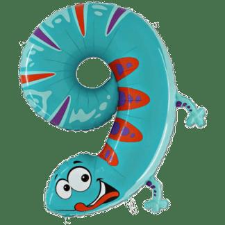 Folienballon Kinder Zahl 9 Gecko Geburtstag