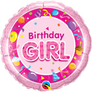 Ballon Happy Birthday Girl Pink Folienballon