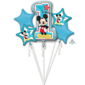 Folienballon Sortiment Mickey Mouse 1. Geburtstag Blau