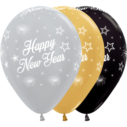Sempertex Ballons Happy New Year Silber Gold Schwarz