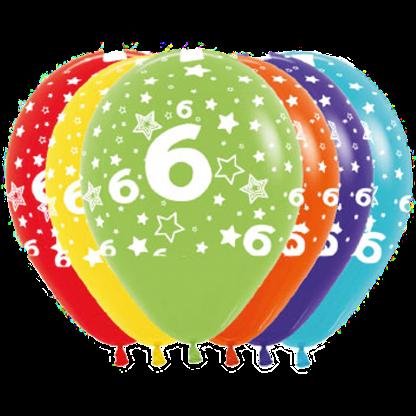 Geburtstag Ballons Fashion Zahl 6 Sterne