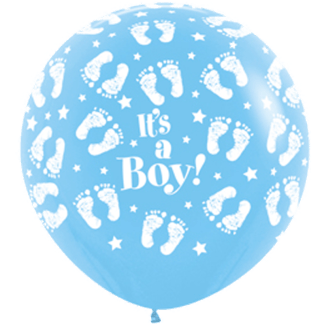 Sempertex Rundballon 90 cm Füsse It´s a Boy Hellblau