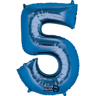 Folienballon Zahl 5 Blau
