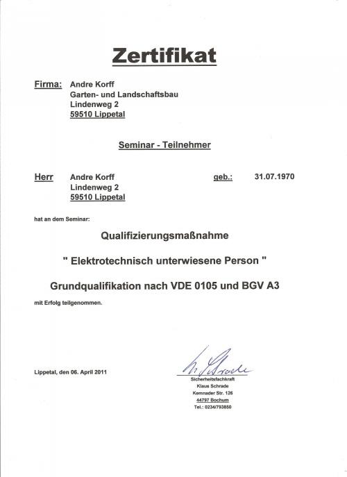 EuP Zetifikat Zaunbau Andre Korffde