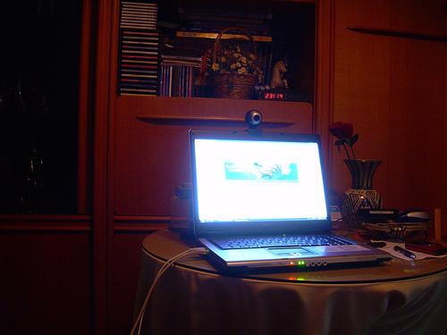 Glowing laptop computer