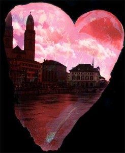 heart and sky, heart and river, heart and buildings