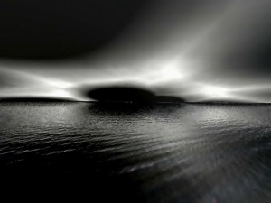 Black Sky and Water, blak and white,
