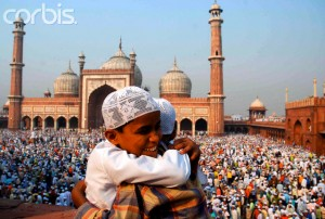 Two boys hug on Eid al-Fitr