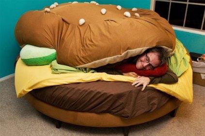 Hamburger bed, man sleeping in bed