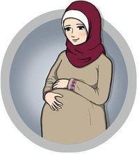 Pregnant Muslim woman (drawing)