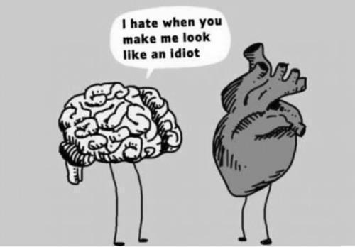 listen to heart or brain? Blind, in love, thinking