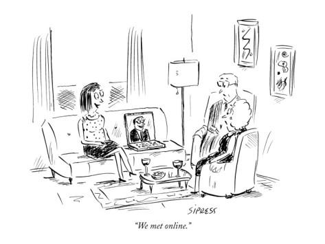"""New Yorker cartoon: """"We met online"""""""