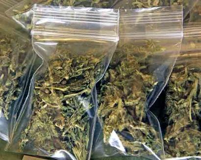 Bags of marijuana, pot, weed, cannabis, drugs.