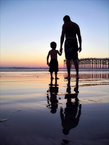 Loving father and son