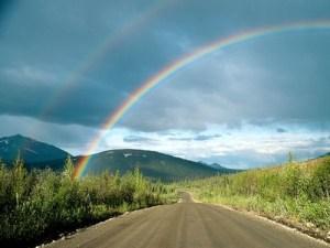 Double rainbow and road ahead