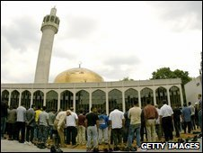 Muslims praying at a mosque in London.