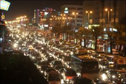 Bumper-to-bumper traffic in Jiddah.