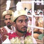 """The grooms and brides were kept apart until the main ceremony, or """"Nikah"""", was over."""