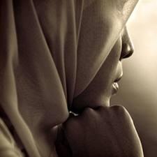 Muslim woman in silhouette