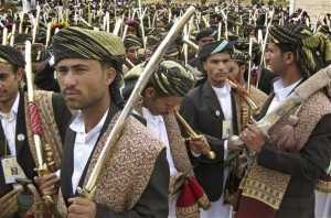Yemeni grooms in traditional dress