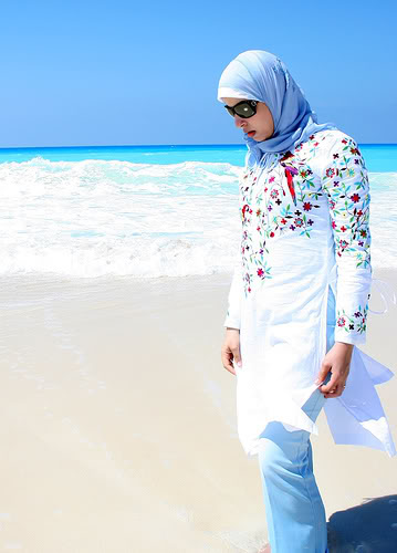 Muslim woman at the beach