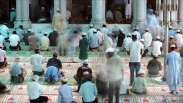 Nepalese Muslims praying in Katmandu during Ramadan