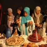 Muslim women having Ramadan iftar in Italy