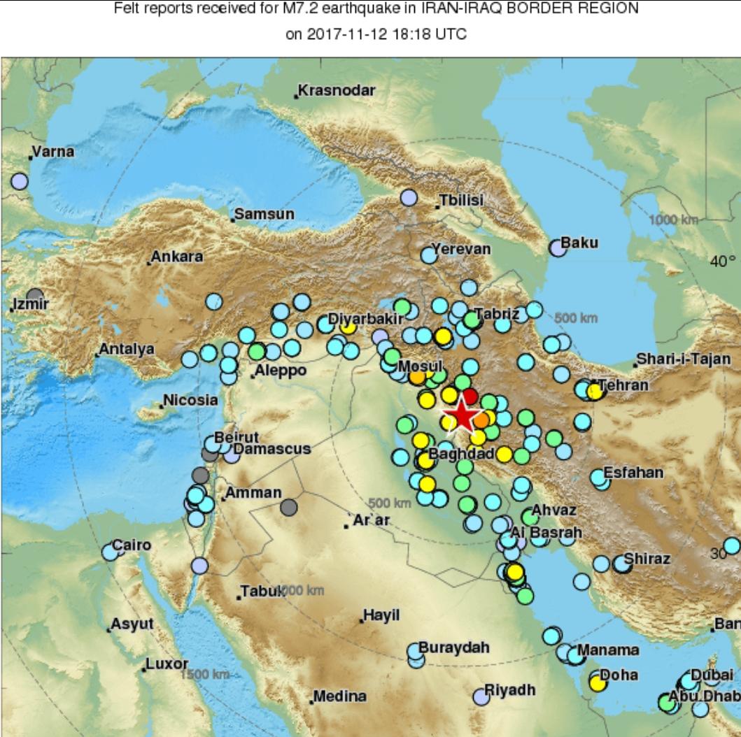 Un puissant séisme de magnitude 7,2 frappe l'Irak et l'Iran