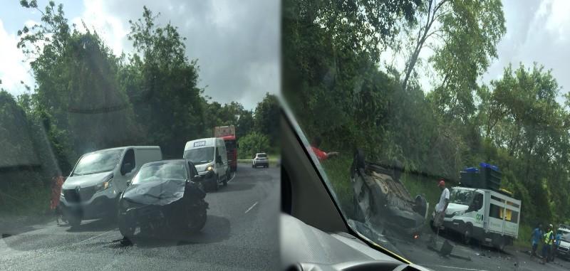 Spectaculaire accident de la route entre Sainte-Marie et Trinité