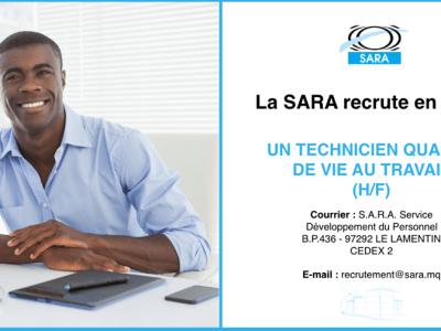 La SARA recrute un technicien qualité de vie au travail (H/F)