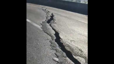 Photo of Fissures : l'état de la route au niveau de l'échangeur de la Pointe des Sables
