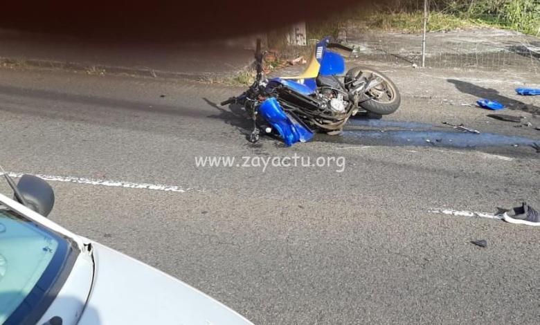 Accident entre une moto et de voiture à Chateauboeuf